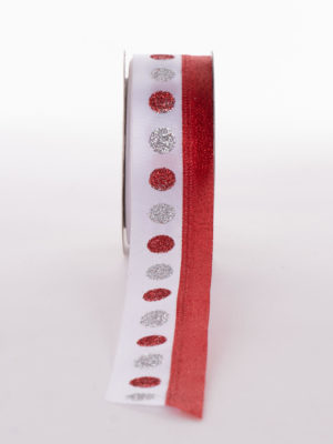 12HDEC008-RIBBON-WHITE-RED-SILVER-REDSPOT-WIRE_