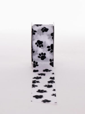 XSP1477-02.38 RIBBON-WHITE-ORGANZA-BLACK-PAWS